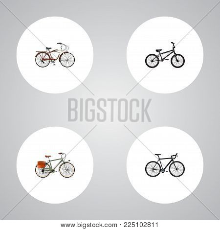 Set of bicycle realistic symbols with exercise riding, cruise bicycle, postman and other icons for your web mobile app logo design.