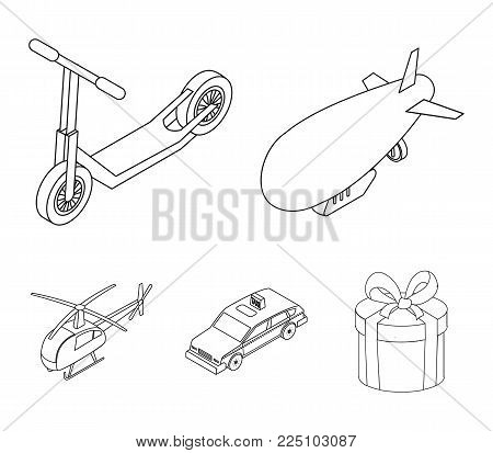 A dirigible, a children's scooter, a taxi, a helicopter.Transport set collection icons in outline style vector symbol stock illustration .