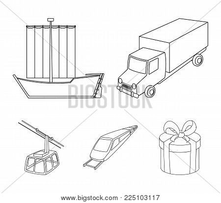 The truck, the boat, the subway, the funicular modes of transport. Transport set collection icons in outline style vector symbol stock illustration web.