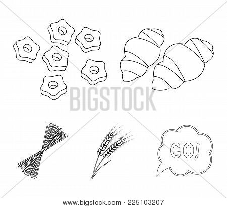 Different types of pasta. Types of pasta set collection icons in outline style vector symbol stock illustration web.