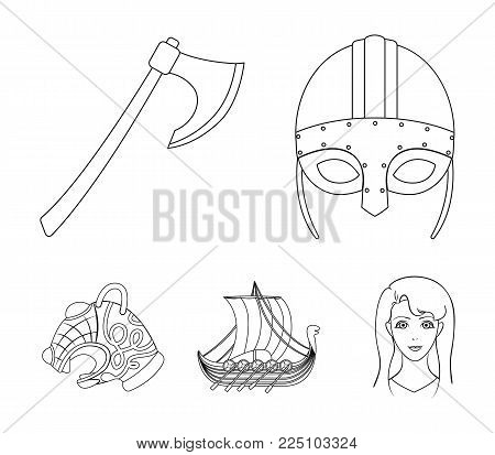 Viking helmet, battle ax, rook on oars with shields, dragon, treasure. Vikings set collection icons in outline style vector symbol stock illustration web.