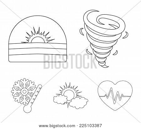 Tornado, sunrise, cloudiness, snow and frost. The weather set collection icons in outline style vector symbol stock illustration .