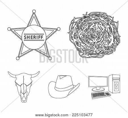 Tumbleweed, sheriff's star, hat, bull's skull. West West set collection icons in outline style vector symbol stock illustration .