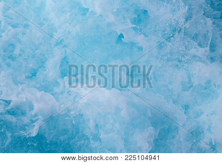 Natural surface water background. Sea water foamy wave. Tropical islands ferry travel. Cruiseliner ship trail. Ocean top view. Sea water texture. White swirl wave in sea. Marine travel banner template