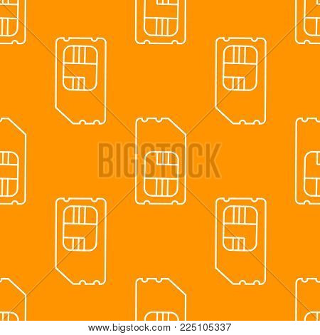 Vector SIM Cards Seamless Pattern on orange Background.