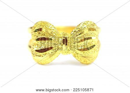 Gold pendant cameo fancy ring jewelry in bow shape isolated on white