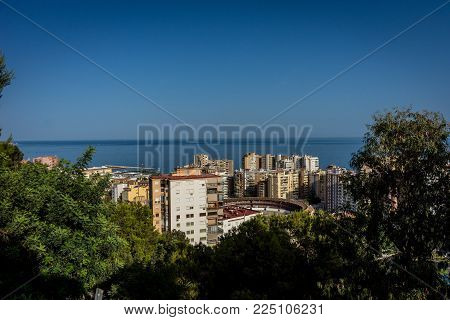 Aerial View Of Malagueta District And La Malagueta Bullring In Malaga, Spain, Europe