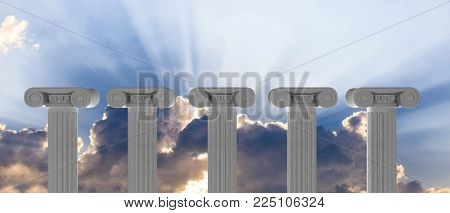 Five marble pillars of islam or justice on blue cloudy sky background, details, front view. 3d illustration