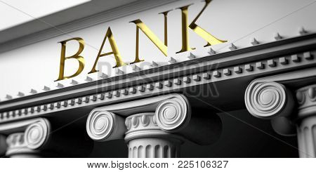 Bank's facade detail. Ancient columns of white ornate marble, close up view. 3d illustration