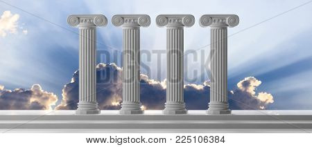 Four marble pillars of democracy or education on blue cloudy sky background, details, front view. 3d illustration