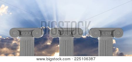 Three marble pillars of sustainability on blue sky background, details, front, view. 3d illustration