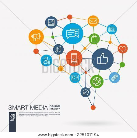 AI creative think system concept. Digital mesh smart brain idea. Futuristic interact neural network grid connect. Social Media market service, communicate, share integrated business vector line icons.
