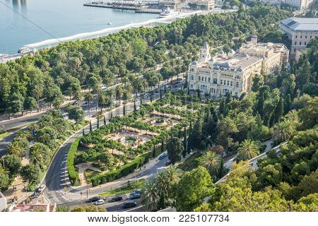Aerial View Of City Hall And Gardens In Malaga, Andalusia, Spain, Europe
