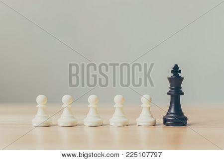 Different pawn chess board game, Leadership business, Unique, Think different, Individual and standing out from the crowd concept