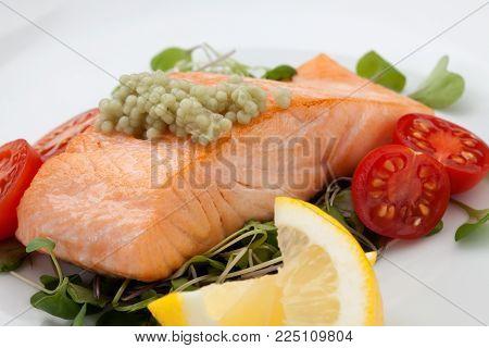 Fried Salmon With Wasabi Caviar