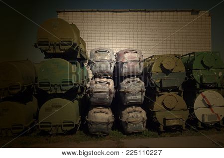 MH17 endless investigation.Buk M1 mobile air defense system missiles containers (grey).Ukraine