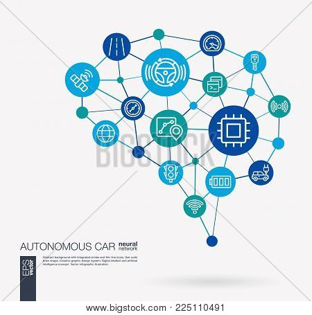 AI creative think system concept. Digital mesh smart brain idea. Futuristic interact neural network grid connect. Autonomous electric car, self-driving, autopilot integrated business vector icons.