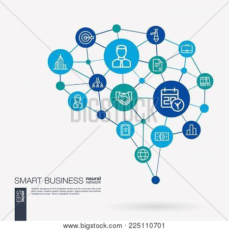 AI creative think system concept. Digital mesh smart brain idea. Futuristic interact neural network grid connect. Business strategy, analytic service, market research integrated vector icons set