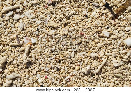 Coral beach sand closeup for background. Tropical beach photo. Exotic island sandy beach texture. Rough coal sand surface backdrop. Seaside sand surface. Idyllic beach day banner. Coral sand texture