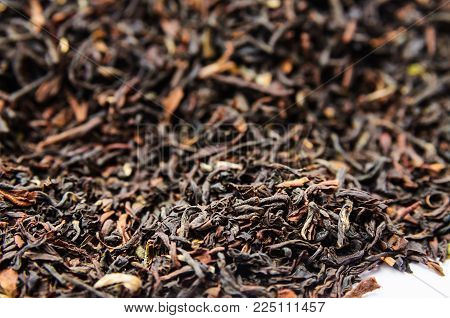 Background Of Dry Black Tea With Flavors