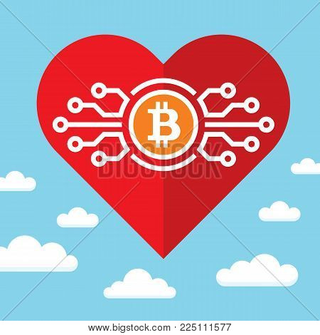 Bitcoin and red heart on blue sky with clouds - vector concept illustration in flat style. Abstract electronic digital cryptocurrency love. Success blockchain marketing trend. Graphic design element.
