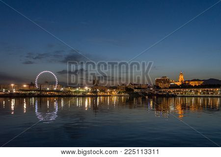 View Of Malaga City From Harbour, Malaga, Spain, Euope