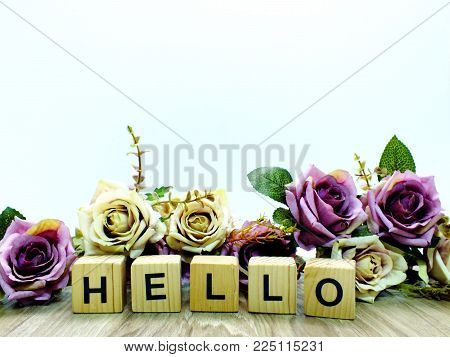 Hello Word Wooden Block With Artificial Roses Flowers Decor