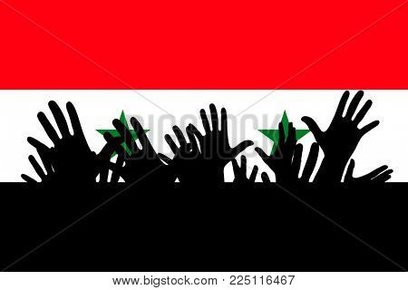 Hands up silhouettes on a Syria flag. Crowd of fans of soccer, games, cheerful people at a party. Vector banner, card, poster.