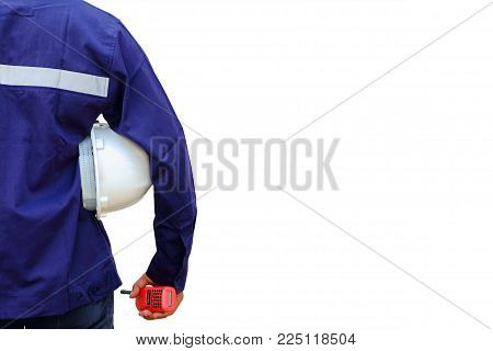 Asian engineer in safety uniform holding white security helmet and walkie-talkie isolated on white background for industrial concept