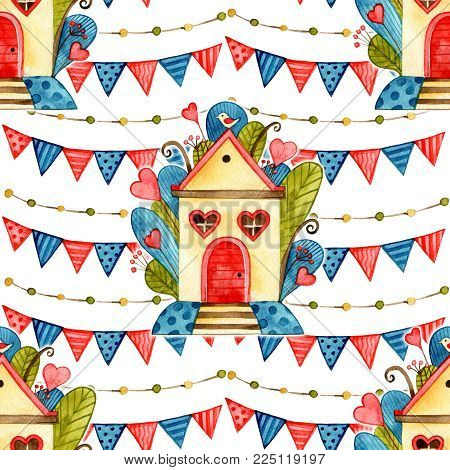 Home Sweet Home Seamless Background pattern. Watercolor love illustration.