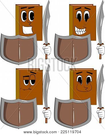 Books holding a sword and shield. Cartoon book collection with happy faces. Expressions vector set.