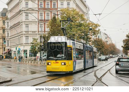 Berlin, October 2, 2017: City Public Transport In Germany. Beautiful Black And Yellow Train Stopped
