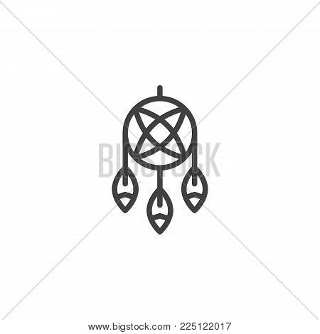 Indian dream catcher line icon, outline vector sign, linear style pictogram isolated on white. Feathers and beads symbol, logo illustration. Editable stroke
