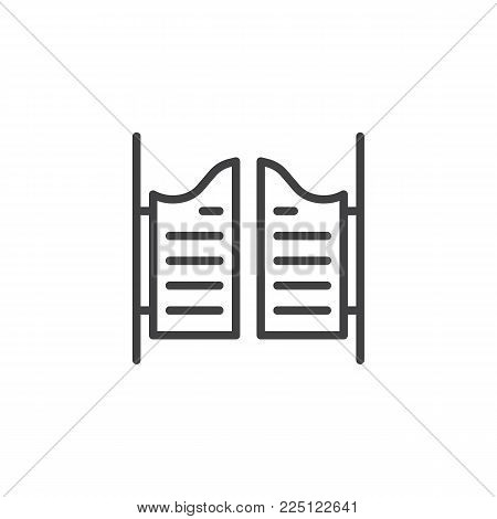 Saloon door line icon, outline vector sign, linear style pictogram isolated on white. Symbol, logo illustration. Editable stroke