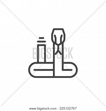 Rattlesnake line icon, outline vector sign, linear style pictogram isolated on white. Rattler snake symbol, logo illustration. Editable stroke