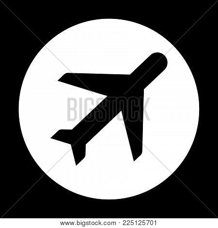 Airplane aviation airline plane top view flat vector icon for apps and websites. mode in flight.