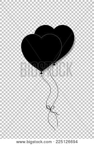 Black Silhouette Of Pair Bounded Heart Shaped Helium Balloons Isolated On Transparent Background. Ve
