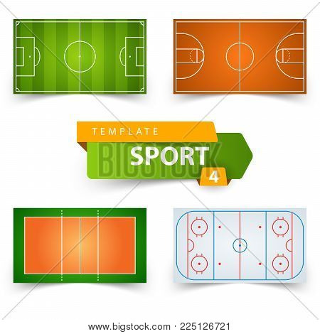Soccer, football, basketball, volleyball hockey - field template Vector eps 10