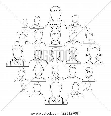 Avatar user icon set. Outline illustration of 25 avatar user vector icons for web