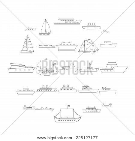 Marine vessels types icons set. Outline illustration of 25 marine vessel type vector icons for web