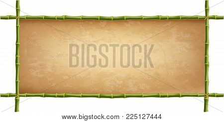 Wooden Frame Of Green Bamboo Sticks With Higly Detailed Vintage Canvas. Worn Papyrus Template, Old G