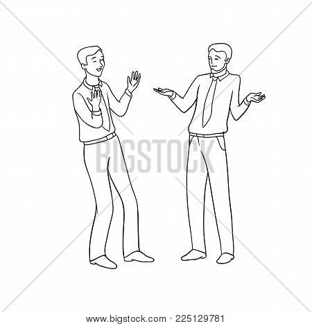 Vector sketch black contour isolated illustration of business people. Emotional exchange of opinions and ideas, the discussion of the project. Disagreement with opinion of the interlocutor
