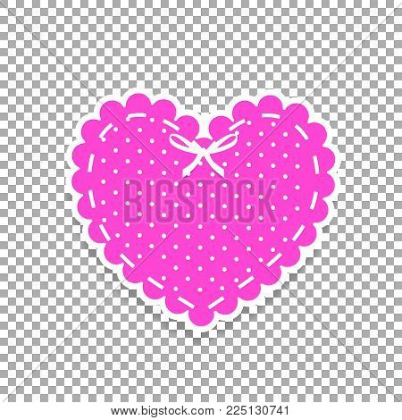 Pink And White Paper Cut Lacing Heart Sticker With Ribbon And Polka Dots Pattern Isolated On Transpa