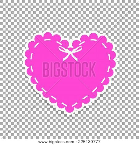 Pink Paper Cut Heart Sticker With White Lacing, Ribbon And Copy Space. Heart Stamp For Baby, Valenti