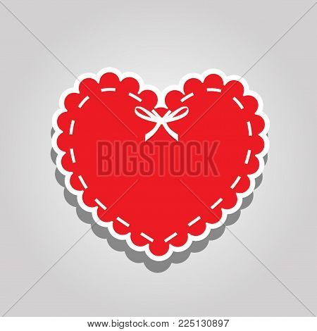 Red Paper Cut Heart Label With White Lacing And Ribbon. Sticker Or Emblem With Lace, Bow And Space F