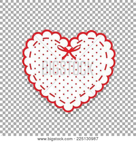 Cute White Lacy Heart With Red Polka Dots Pattern And Ribbon Isolated On Transparent Background. Scr