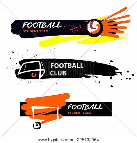 Football student team, school. Ball in goal. Concept illustration for sport college, student team logo.  Sketch vector illustration.