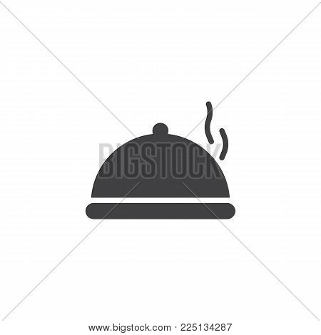 Food platter serving icon vector, filled flat sign, solid pictogram isolated on white. Tray with hot food symbol, logo illustration.