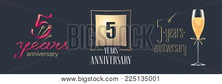 5 years anniversary vector icon, logo set. Festive design element with golden numbers and champagne for 5th anniversary celebration
