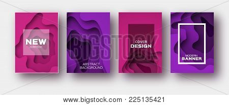 Pink Violet Paper Cut Wave Shapes. Layered curve Origami design for business presentations, flyers, posters. Set of 4 vertical banners. 3D abstract map carving. Text. Frame. Vector